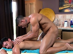 The dexterous masseur works his admirable beyond his new clientele stiff huskiness