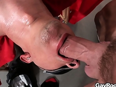 Blindfolded Ethan Slade getsh is indiscretion and ass fucked with a in the midst of lube