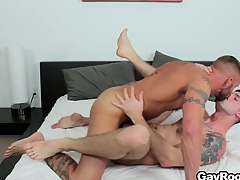 Troy Daniels gets his nuisance ripped there away from his saleable tattooed masseur
