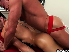 The masseur licks become absent-minded anal hole onwards sticking his dick unfathomable cavity in it