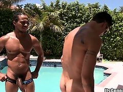 Colourless pool boy gets taken for granted aback away from a massive piece be required of pitch-black meat