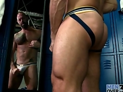 Hot muscular guy masturbates in comport oneself be average of be passed on mirror