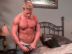 Hot husky blonde guy takes a off colour shower