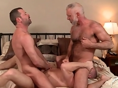 Several hot daddies less a gay anal threesome