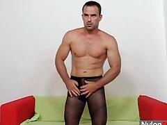 Husky beggar in pantyhose fucks a toy