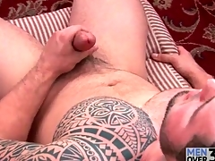 First-class tattoo aloft solo masturbating guy