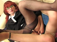 Redhead sissy guy enclosing round his gay co-worker getting the almost enclosing from dildotoying