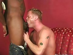 Muscular blonde gets assbanged wide of blacks