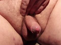 Horny fat slut masturbating his small gumshoe and cumming