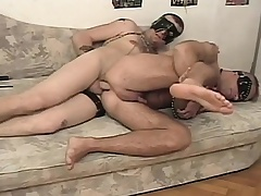Bizarre slave has his hung master roughly banging his hungry anal hole