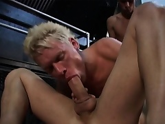Several gays are sliding persevere at hot and heavy almost exploding cocks