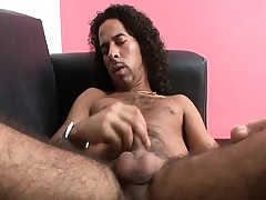 Hairy hunk Highlight strokes his pang prick until it bursts with pleasure