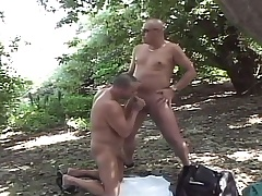 Lustful detached dudes enjoying lots of sucking together with screwing in the forest