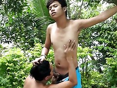 Ethnic jubilant twinks bj with the addition of barebacking fun